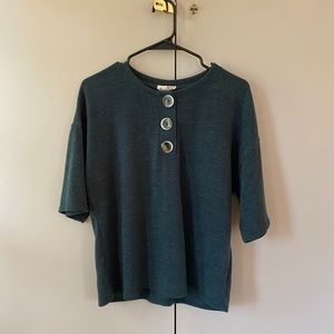 Anthropologie | green button tee